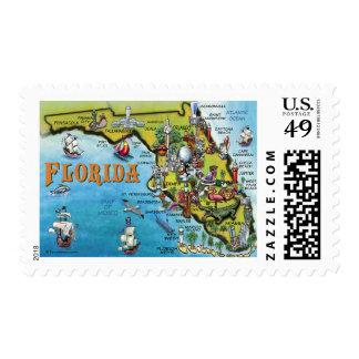 Florida Cartoon Map Postage