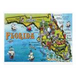 Florida Cartoon Map Postcard