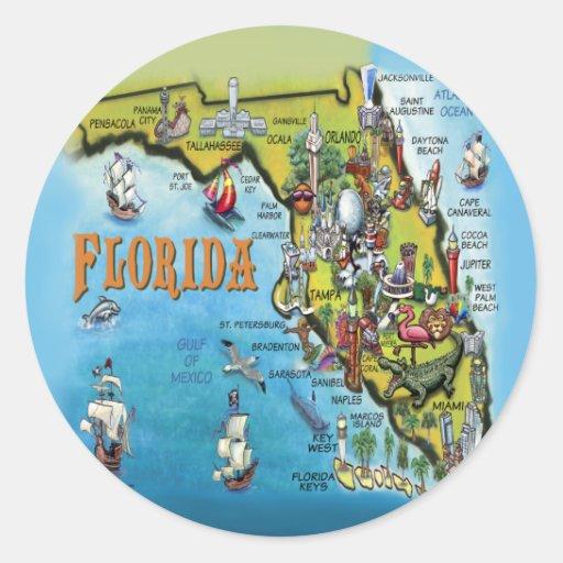 Florida Cartoon Map Stickers