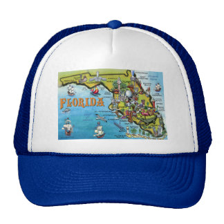 Florida Cartoon Map Trucker Hat