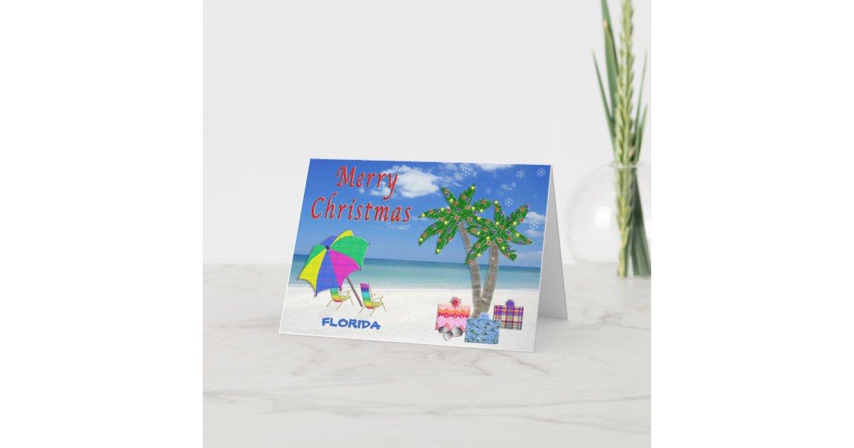 Florida Christmas Cards Beach & Palm Trees   Zazzle.com
