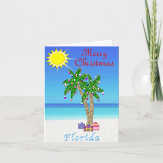 florida christmas cards palm tree on beach - Beach Christmas Cards