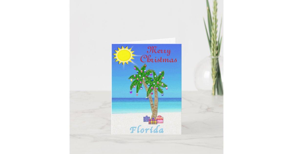 Florida Christmas Cards Palm Tree on Beach | Zazzle.com