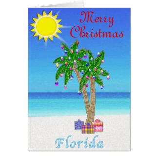 Florida Christmas Cards Palm Tree on Beach