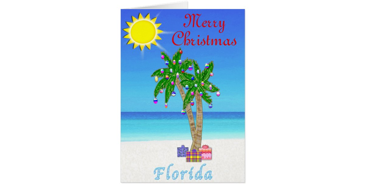 florida christmas cards palm tree on beach