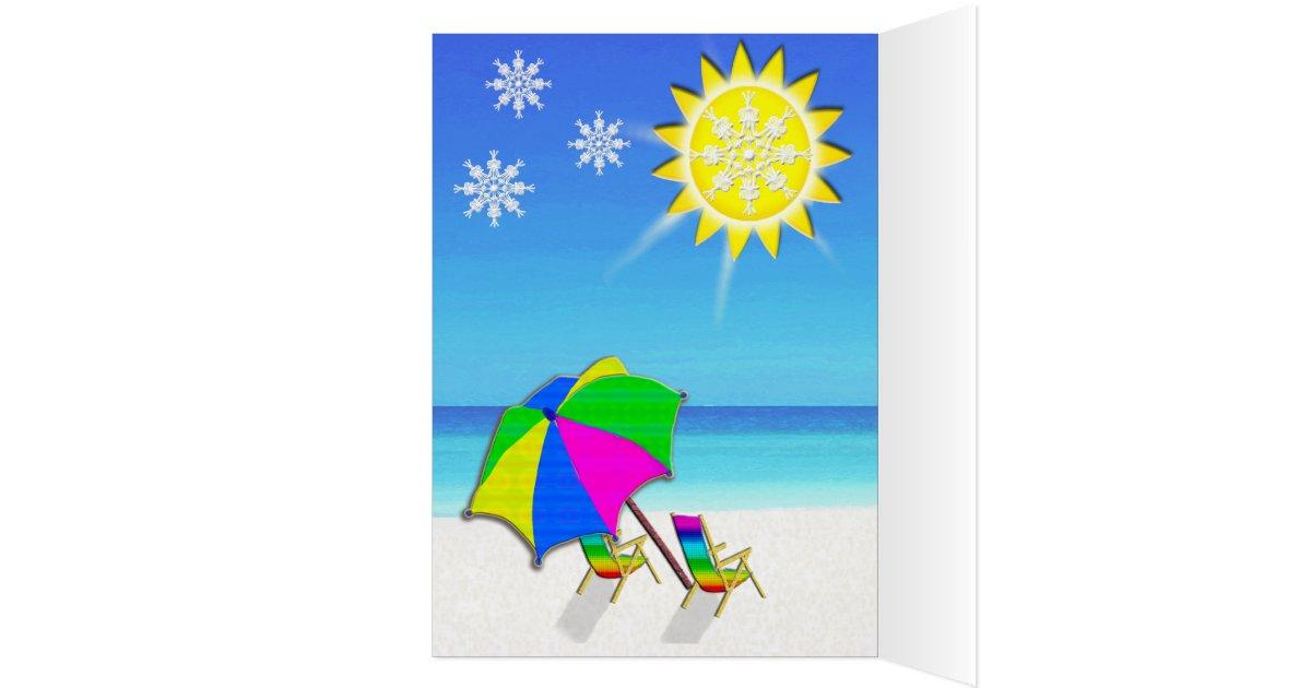 Florida Christmas Cards Palm Tree on Beach | Zazzle