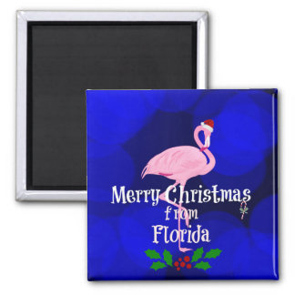 Florida Christmas Greetings from Santa Flamingo 2 Inch Square Magnet