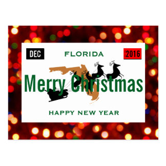 Florida Christmas Plate Personalize Postcard