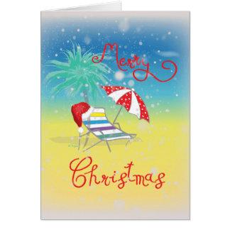 Florida Christmas Snow Flakes Santa Hat Card