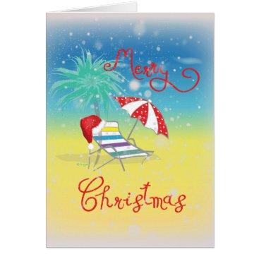 Beach Themed Florida Christmas Snow Flakes Santa Hat Card