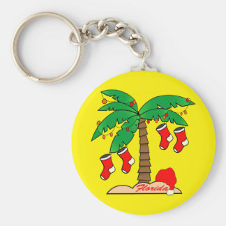 Florida Christmas Tree Basic Round Button Keychain
