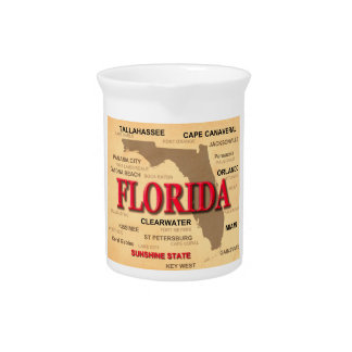 Florida Cities And Towns State Pride Map Drink Pitcher