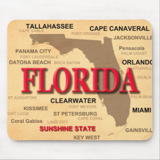 Florida Cities And Towns State Pride Map Mouse Pad