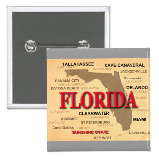Florida Cities And Towns State Pride Map Pinback Button