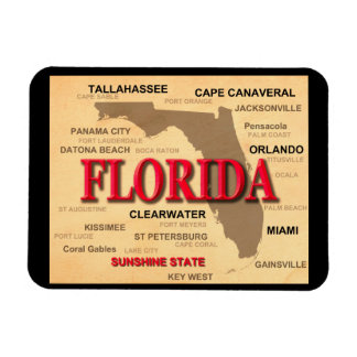 Florida Cities And Towns State Pride Map Rectangle Magnets