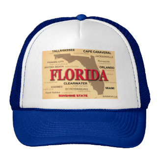 Florida Cities And Towns State Pride Map Trucker Hat