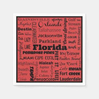 Florida cities typography napkins