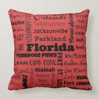 Florida cities typography pillow