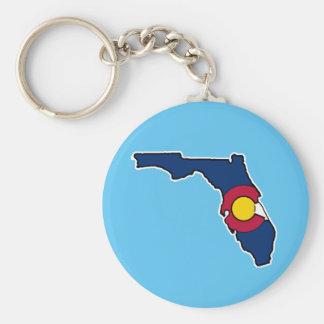 Florida Colorado flag round keychain