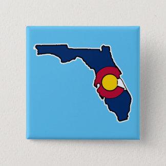 Florida Colorado flag square pin back button
