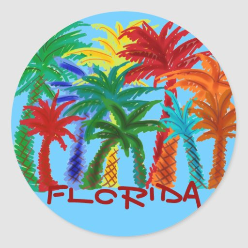 Florida colorful palm tree stickers