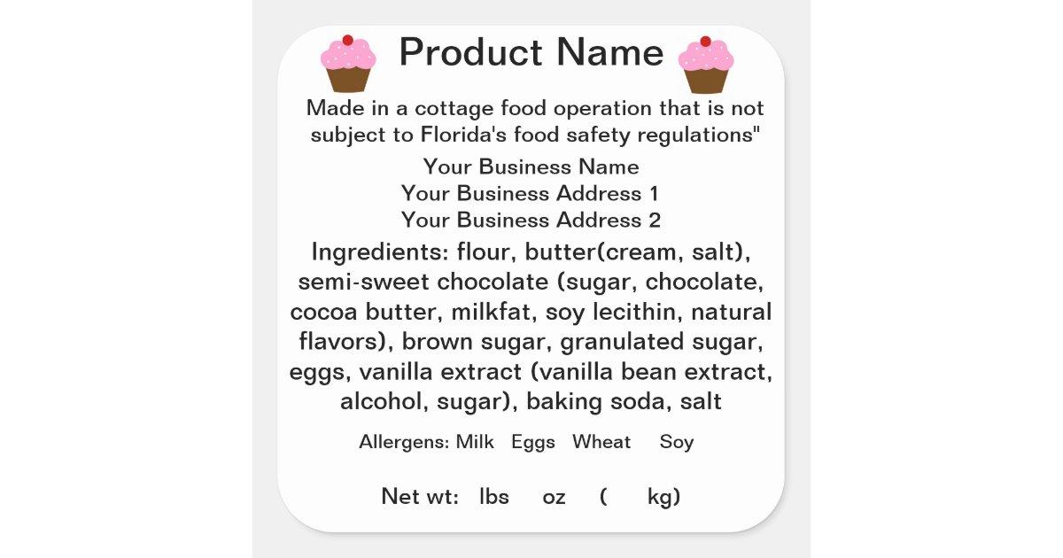 Florida Cottage Food Law Sticker Label Square Sticker Zazzle