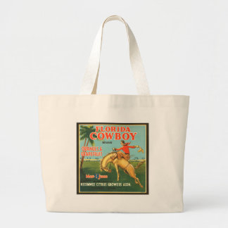 Florida Cowboy Oranges & Grapefruit Vintage Ad Large Tote Bag