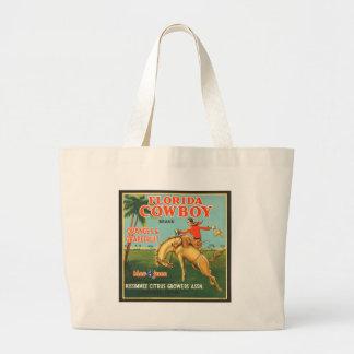 Florida Cowboy Oranges & Grapefruit Vintage Ad Large Tote Bag