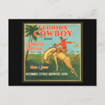 Florida Cowboy Oranges & Grapefruit Vintage Ad Postcard
