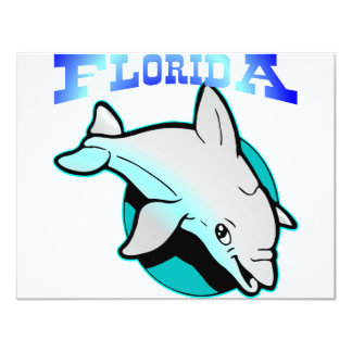 Florida Dolphin 4.25x5.5 Paper Invitation Card