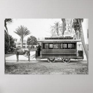 Florida East Coast Trolley, 1905. Vintage Photo Poster