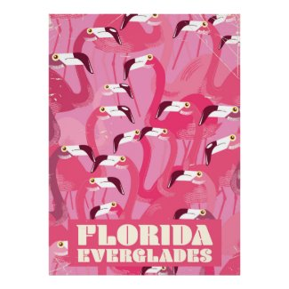 Florida Everglades Flamingo vintage travel poster