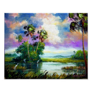 Florida Everglades Wind Painting Posters