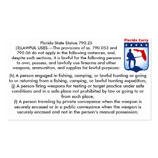 Florida Firearms Open Carry Laws Business cards.. Business Card