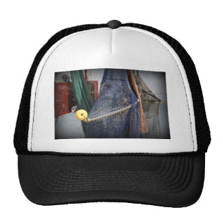 Florida fishing boat net closeup, faded version hat