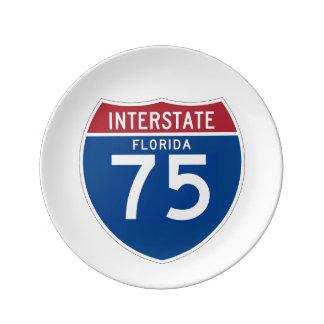 Florida FL I-75 Interstate Highway Shield - Porcelain Plate