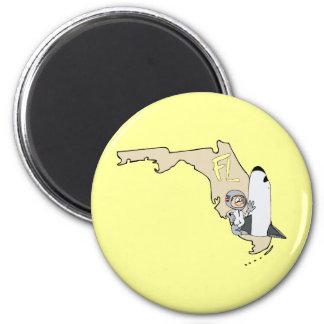 Florida FL Map & Space Shuttle Cartoon Art Motto 2 Inch Round Magnet