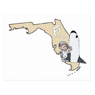 Florida FL Map & Space Shuttle Cartoon Art Motto Postcard