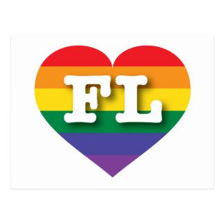 Florida FL rainbow pride heart Post Cards