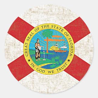 FLORIDA FLAG AGED ROUND STICKER