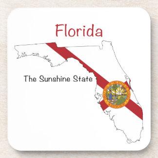 Florida Flag and Map Beverage Coaster
