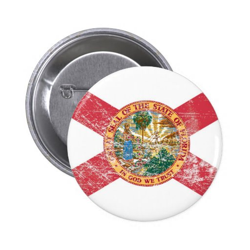 Florida Flag (Distressed) 2 Inch Round Button