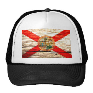 Florida Flag old wood Trucker Hat