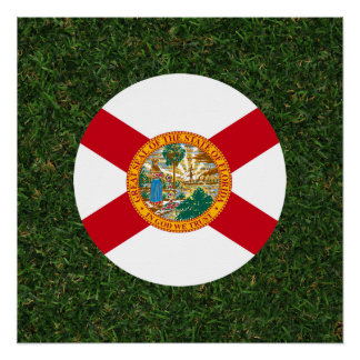 Florida Flag on Grass Perfect Poster