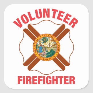 Florida Flag Volunteer Firefighter Cross Square Sticker
