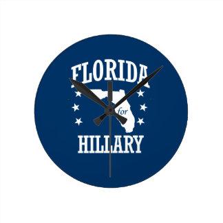 FLORIDA FOR HILLARY ROUND WALL CLOCKS