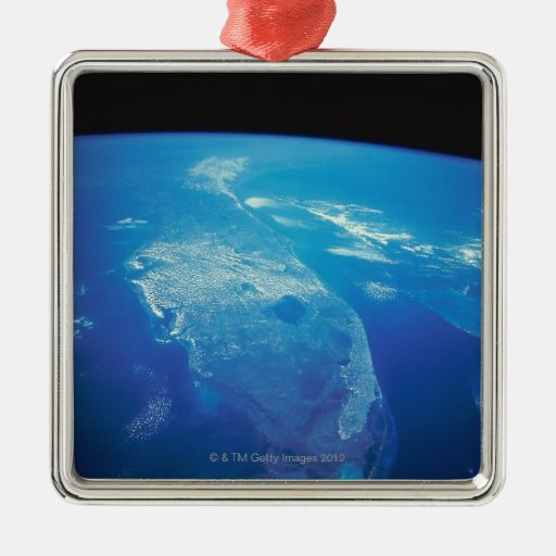 Florida from Space 2 Square Metal Christmas Ornament