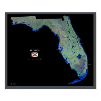 Florida from space satellite poster