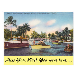 Florida, Ft. Lauderdale, Boating Downtown Postcard
