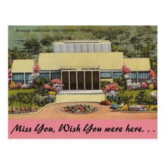 Florida, Ft. Lauderdale, Memorial Auditorium Postcard